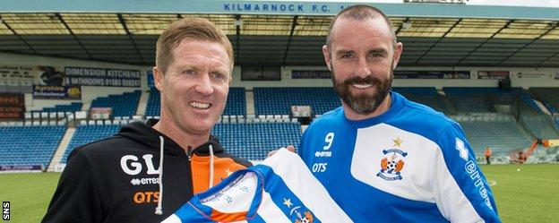 Kilmarnock manager Gary Locke and Kris Boyd