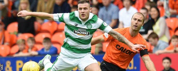 Celtic's Anthony Stokes holds off Dundee United's Sean Dillon