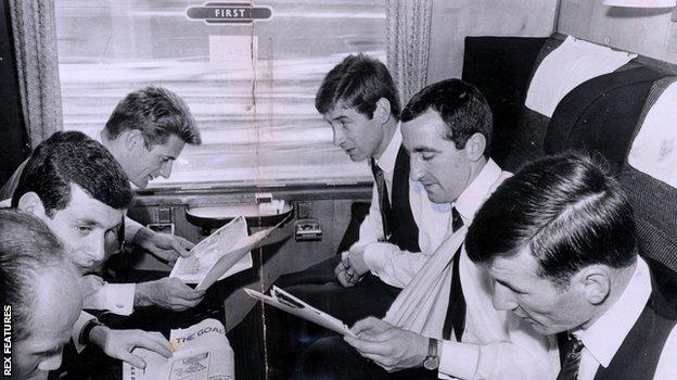Liverpool players on train after 1965 FA Cup final