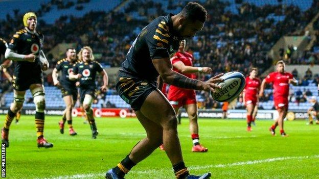 Zach Kibirige's second try of the night took him clear of Gloucester's teenage Welsh winger Louis Rees-Zammit and Saracens flanker Ben Earl as the Premiership's top try scorer this season - on seven