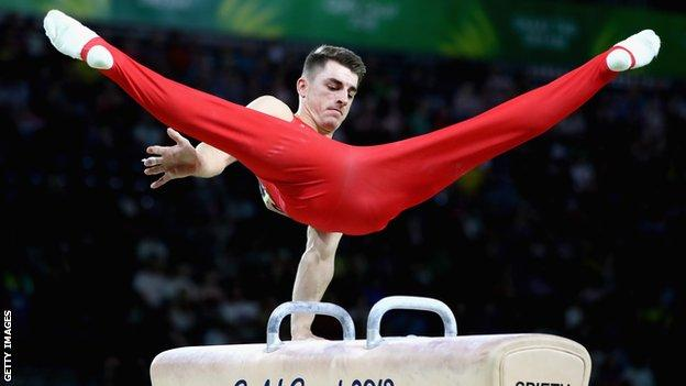 Max Whitlock in action on the pommel horse at the Commonwealth Games in 2018