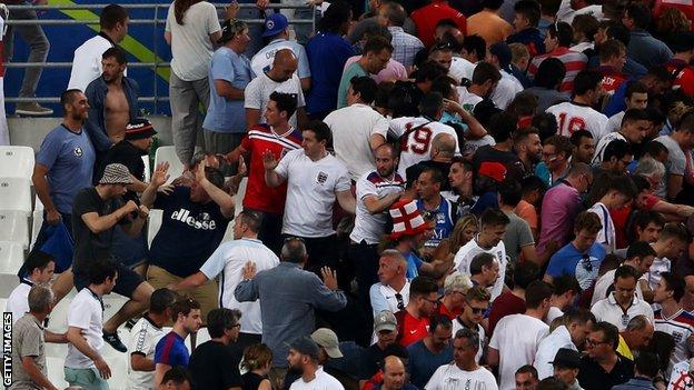 Clashes between supporters in the stands after England v Russia in Marseille at the 2016 European Championship