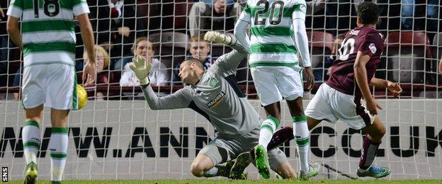 Osman Sow has a goal disallowed against Celtic