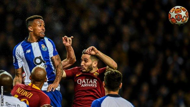 Eder Militao in action for Porto against Roma in the Champions League