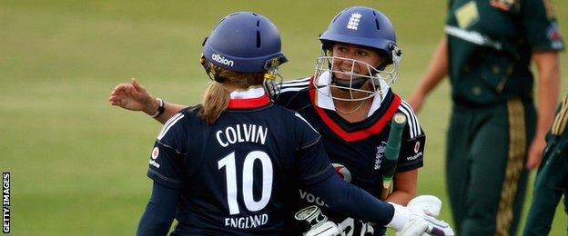 Holly Colvin and Laura Marsh celebrate an England victory