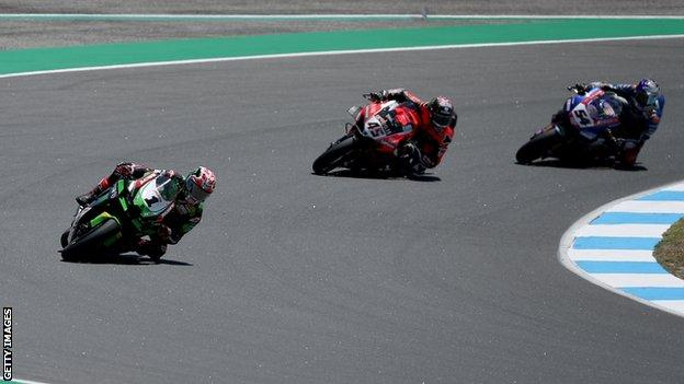 Jonathan Rea picked up his first career victory at Estoril