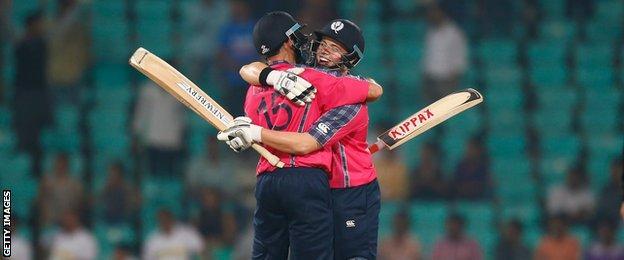 Kyle Coetzer and Matt Machan celebrate Scotland's victory over Hong Kong at the World Twenty20