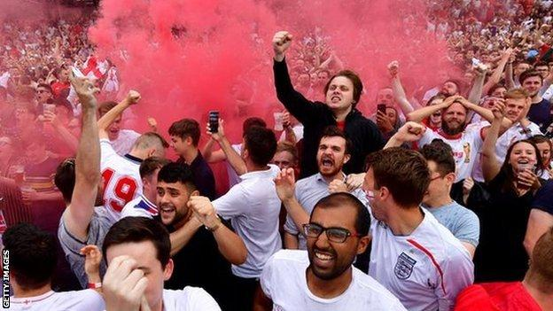 England fans in Manchester celebrating during the World Cup