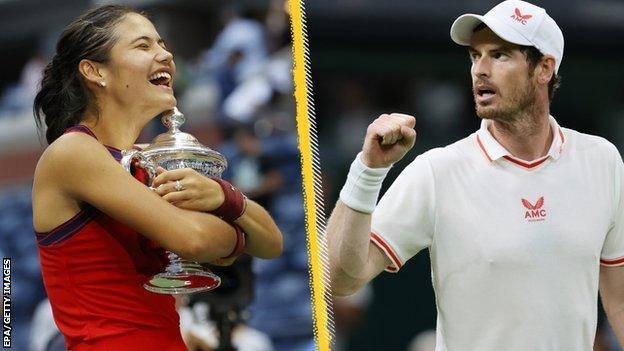 Split image of Emma Raducanu and Andy Murray