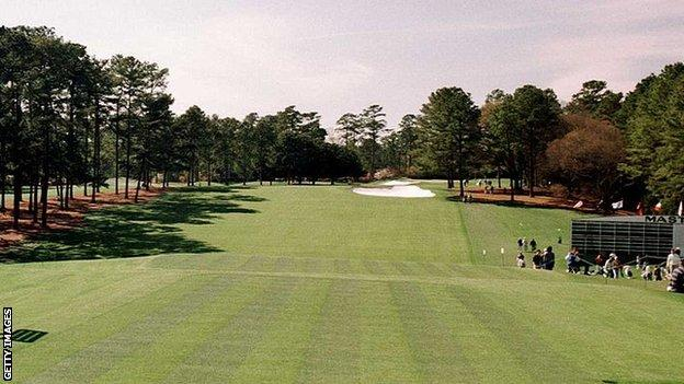 A general view of hole one at Augusta National