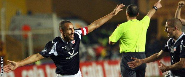 Henrik Larsson celebrates scoring for Helsingborg against Galatasaray in the Uefa Cup in November 2007