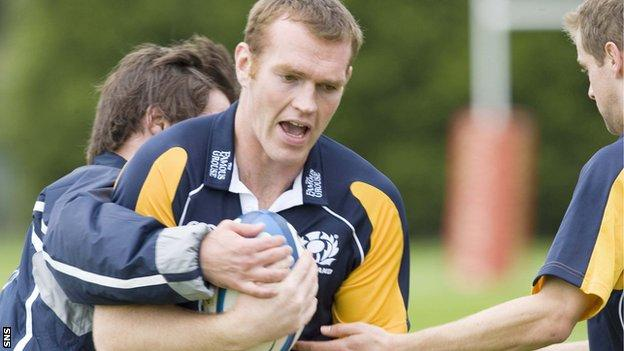 Jon Petrie in training with Scotland