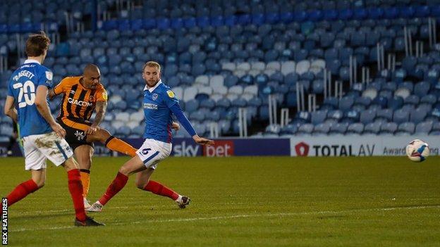 Josh Magennis scores against Portsmouth