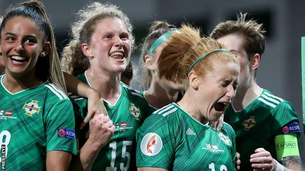Louise McDaniel (left) scored her first international goal while Furness (right) netted her 33rd for NI