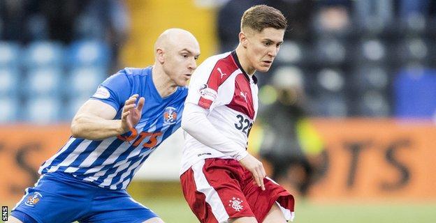 Myles Beerman in action for Rangers against Kilmarnock's Conor Sammon