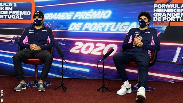 Sergio Perez and Lance Stroll during the Portuguese Grand Prix press conference