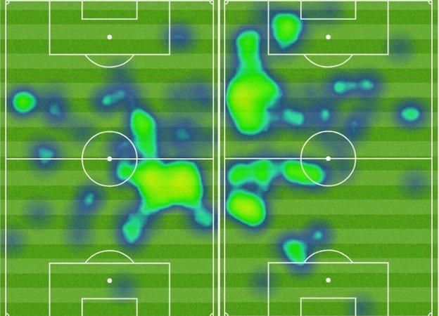 Paul Pogba's heatmaps for the matches against Southampton (left) and Everton