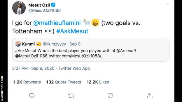 Ozil says Mathieu Flamini is the best player he's played with at Arsenal (two goals vs Tottenham)