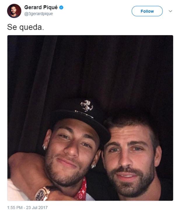 Gerard Pique with Neymar Jr on Twitter