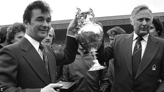 Brian Clough and assistant manager Peter Taylor after Nottingham Forest won the First Division title in 1978