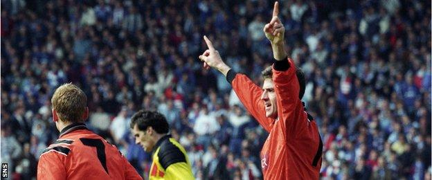 Craig Brewster celebrates scoring the only goal of the game in Dundee United's Scottish Cup final win over Rangers in 1994