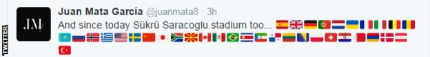 Juan Mata tweeted all the flags of every country he's played football in