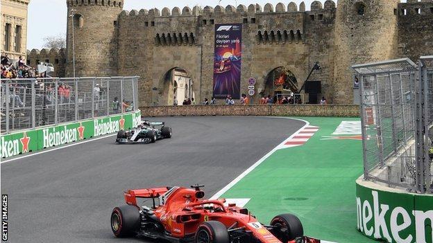 Ferrari F1 driver Sebastian Vettel in action at the Baku City Circuit