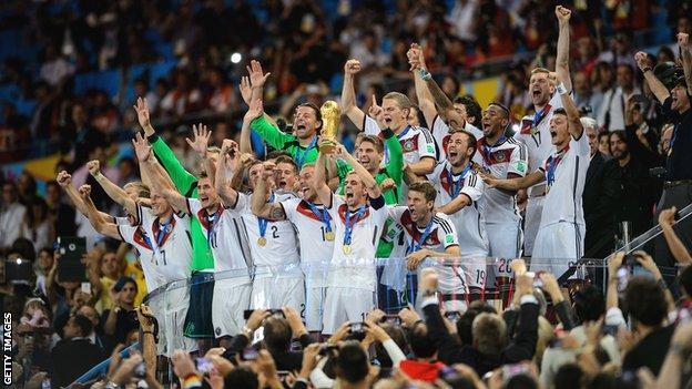 Germany celebrate winning 2014 World Cup