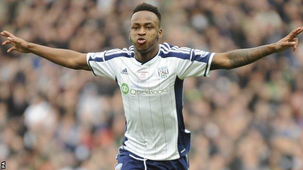 Saido Berahino celebrates a goal