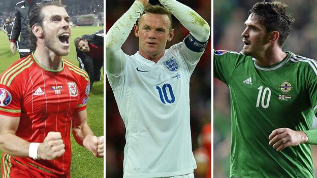 Gareth Bale, Wayne Rooney and Kyle Lafferty