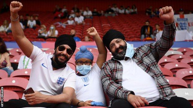 England fans smiling at the team's friendly with Romania in Middlesbrough