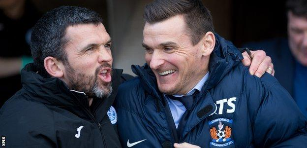 Lee McCulloch (right) is embraced by St Johnstone assistant manager Callum Davidson
