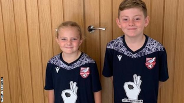 Nathan Cartman's children Millie and Alfie in Scarborough Athletic away shirts
