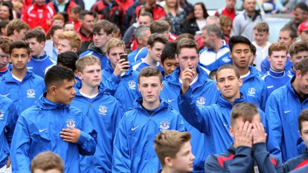 Everton America were one of the teams taking part in the opening parade in Londonderry before the start of the Foyle Cup youth football tournament