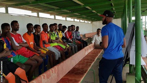 Somaliland Football Academy's Ahmed Ali with players