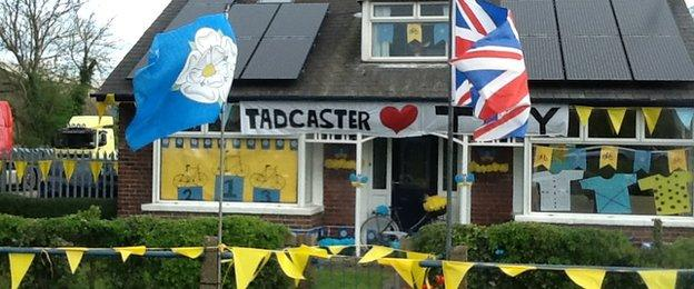 Houses and shops have embraced the Tour de Yorkshire with plenty of decorations