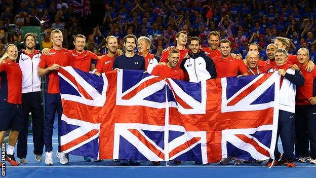 The Great Britain team celebrate their semi-final win over Australia
