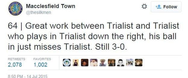 Macclesfield tweet