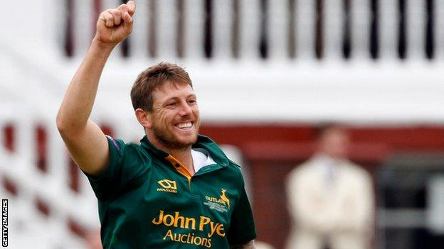 James Pattinson in action for Nottinghamshire