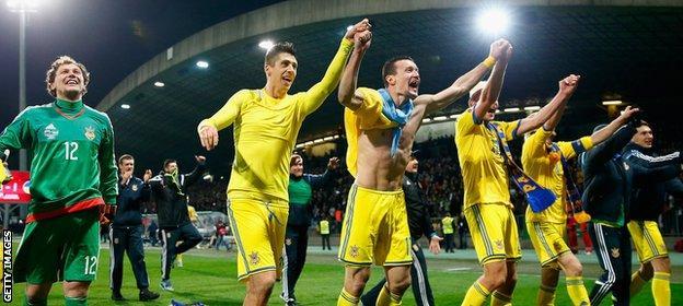 Ukraine celebrate their Euro 2016 play-off win over Slovenia