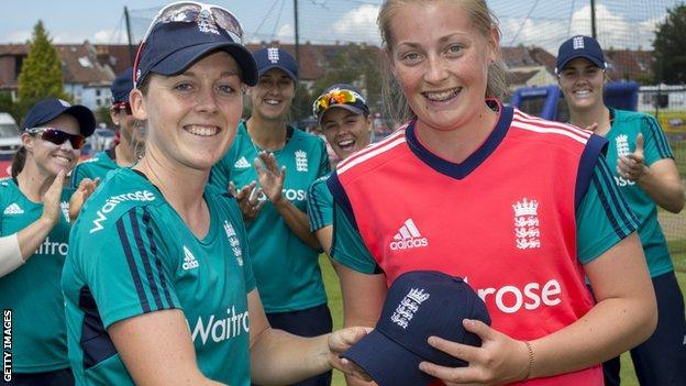 Sophie Ecclestone (right) receives her T20 international cap
