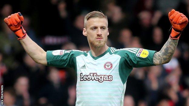 Daniel Bentley in action for Brentford