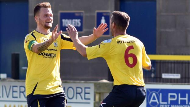 Ryan Harpur and Terry Fitzpatrick show their delight after combining for Dungannon's second goal in a 2-0 success at Warrenpoint