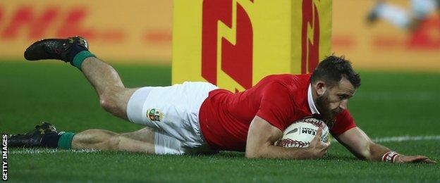Tommy Seymour scores for the British and Irish Lions