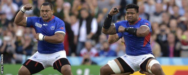 Samoa perform the haka before facing South Africa