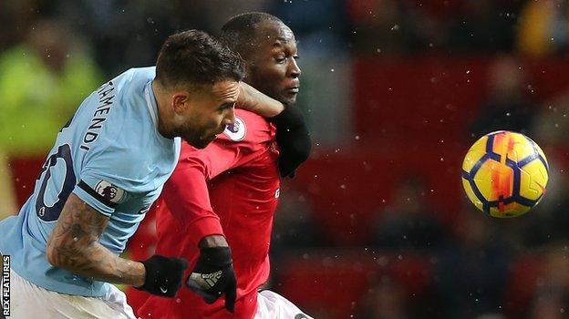 Man City defender Nicolas Otamendi and Man Utd striker Romelu Lukaku
