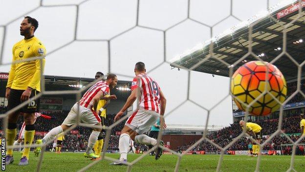Marko Arnautovic of Stoke celebrates his second goal against Aston Villa