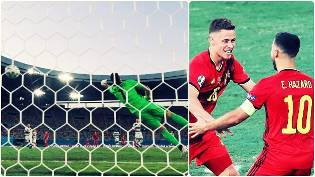 A split image as Thorgan Hazard's strike swerved away from Rui Patricio and he then raced to celebrate with his brother, Eden
