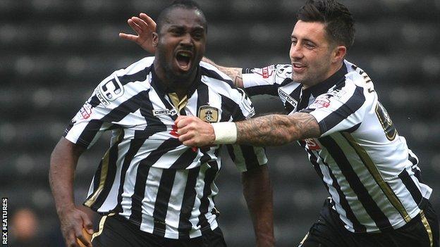 Stanley Aborah (left) celebrates his goal with Notts team-mate Alan Sheehan
