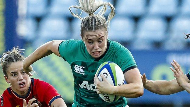 Stacey Flood kicked a conversion in Ireland's narrow one-point defeat by Spain